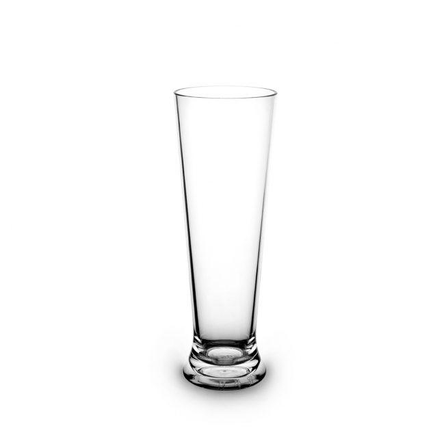 Verre à bière transparent incassable et personnalisable.