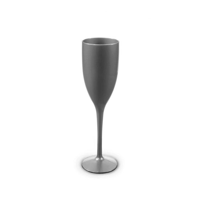Flûte à champagne argentée incassable et personnalisable.