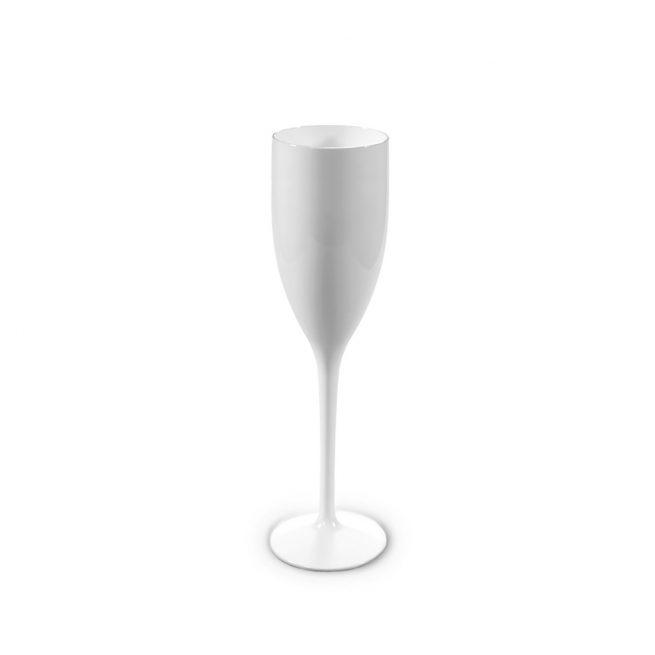 Flûte à champagne blanche incassable et personnalisable.